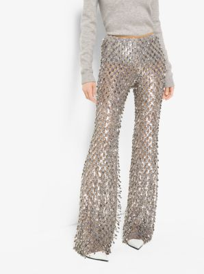 Metallic-Embroidered Stretch-Tulle Trousers by Michael Kors