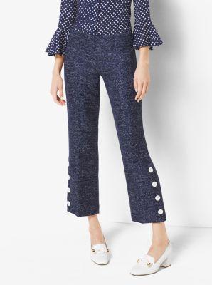Denim Wool-Jacquard Pants by Michael Kors