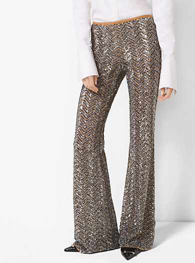 Sequin-Embroidered Herringbone Stretch-Tulle Trousers by Michael Kors