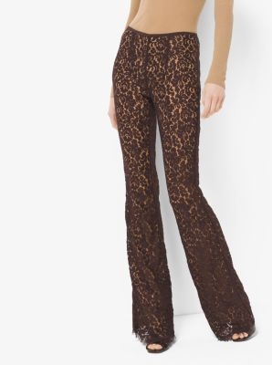 Floral Lace Flared Trousers by Michael Kors