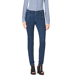 Single-Pleat Stretch Skinny Jeans