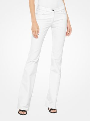 마이클 코어스 플레어 팬츠 화이트 Michael Kors Stretch-Cotton Broadcloth Flared Jeans,OPTIC WHITE
