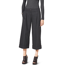 Pleated Stretch-Wool Culottes