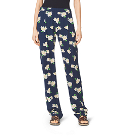 Camellia-Print Silk-Georgette Pants