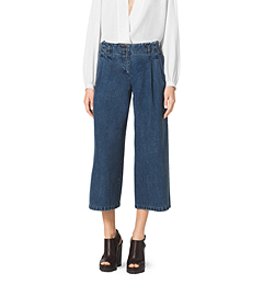Pleated Chambray Denim Culottes
