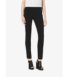 Stretch Pebble-Crepé Side-Zip Pants