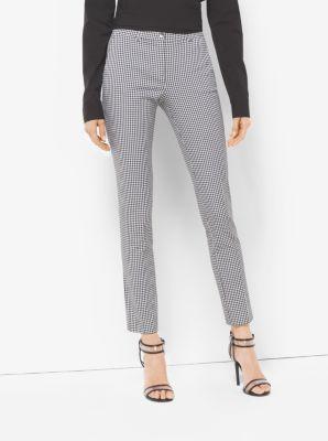 Samantha Gingham Stretch-Cotton Skinny Pants by Michael Kors