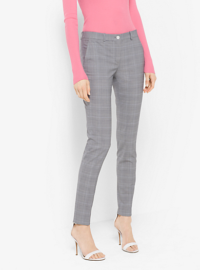 Samantha Glen Plaid Stretch-Wool Pants by Michael Kors