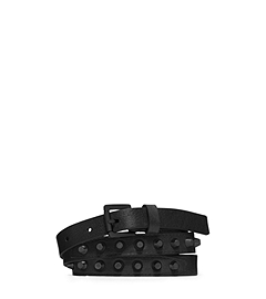 Studded Saffiano Leather Belt