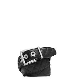 Grommet-Embellished Quilted-Leather Belt