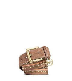 Charm-Embellished Studded Suede Belt