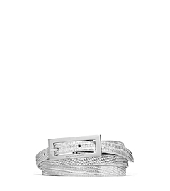 Lizard Pattern-Embossed Leather and Suede Belt
