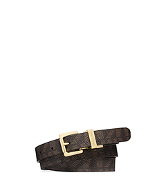 Reversible Logo-Print and Python Pattern-Embossed Leather Belt