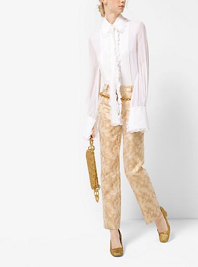 Blusa in georgette di seta con fiocco e volant by Michael Kors