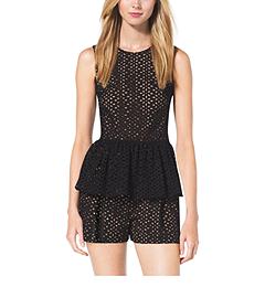 Eyelet-Embroidered Silk-Jacquard Peplum Top