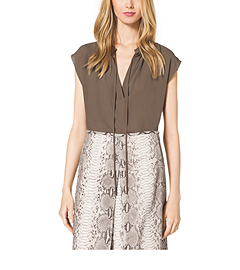Sleeveless Silk-Georgette Peasant Top