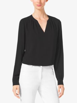 Split-Neck Silk-Georgette Blouse by Michael Kors
