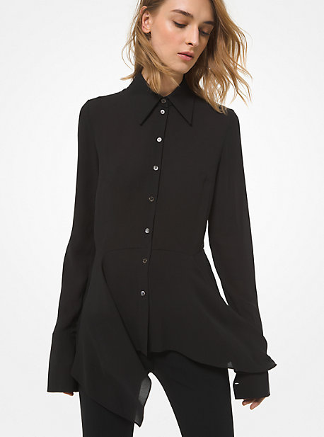 Michael Kors Women's Silk Georgette Asymmetric Peplum Blouse In Black