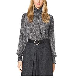 Tweed-Print Silk-Chiffon Blouse
