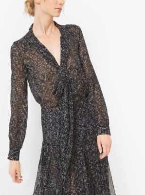 Tweed Silk-Chiffon Bow Blouse by Michael Kors