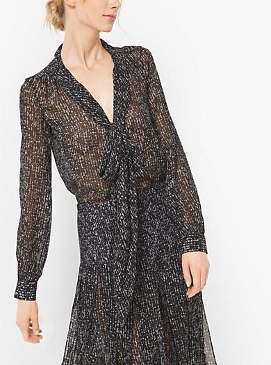 Tweed Silk-Chiffon Bow Blouse by Michael Kors