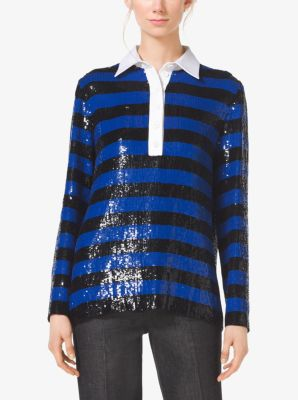 Sequined Silk-Georgette Rugby Top by Michael Kors