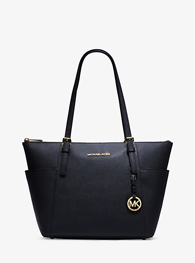 Borsa tote Jet Set in pelle saffiano con zip by Michael Kors