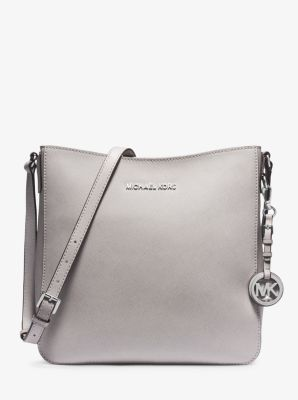 마이클 마이클 코어스 Michael Michael Kors Jet Set Large Saffiano Leather Messenger Bag,PEARL GREY