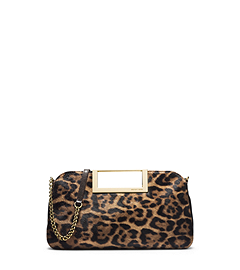 Berkley Leopard-Print Hair Calf Clutch
