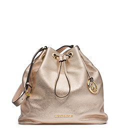 Jules Drawstring Metallic Leather Large Shoulder Bag