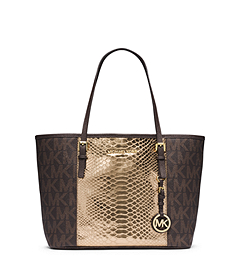 Jet Set Travel Logo Snakeskin Pattern-Embossed Leather Small Tote