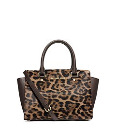Selma Leopard Hair Calf Medium Satchel