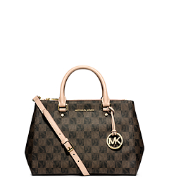 Sutton Logo Checkerboard Medium Satchel