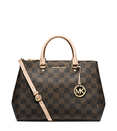 Sutton Logo Checkerboard Large Satchel