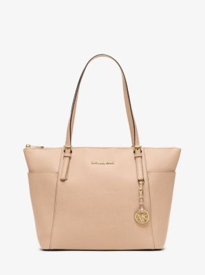 Jet Set Large Top-Zip Saffiano Leather Tote by Michael Kors