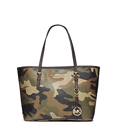 Jet Set Travel Camouflage Saffiano Leather Small Tote