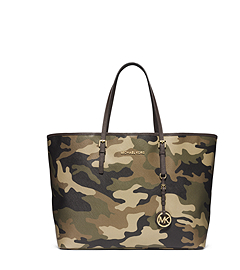 Jet Set Travel Camouflage Saffiano Leather Tote