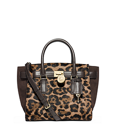 Hamilton Traveler Leopard Hair Calf Medium Satchel