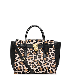 Hamilton Traveler Leopard Hair Calf Large Satchel