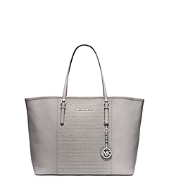 Jet Set Travel Studded Saffiano Leather Medium Tote