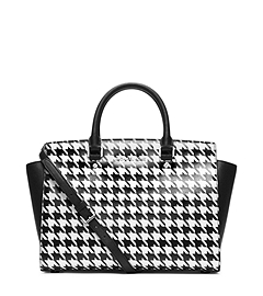 Selma Houndstooth Saffiano Leather Large Satchel