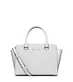 Selma Studded Saffiano Leather Medium Messenger
