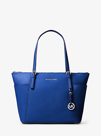 Jet Set Large Top-Zip Leather Tote by Michael Kors