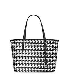 Jet Set Travel Houndstooth Saffiano Leather Small Tote
