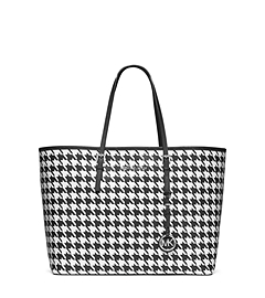 Jet Set Travel Houndstooth Saffiano Leather Medium Tote