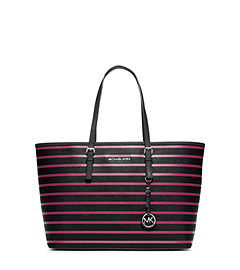 Jet Set Travel Striped Saffiano Leather Tote
