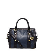 Collins Stud Medium Two-Tone Leather Satchel