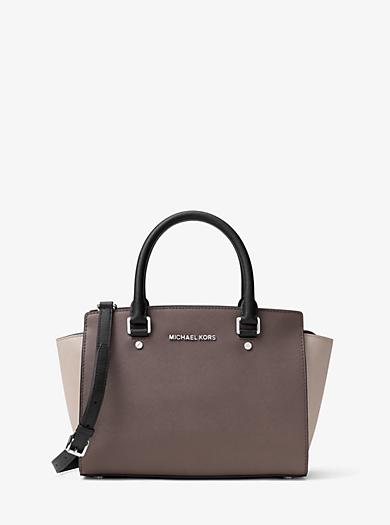 Selma Medium Color-Block Leather Satchel by Michael Kors