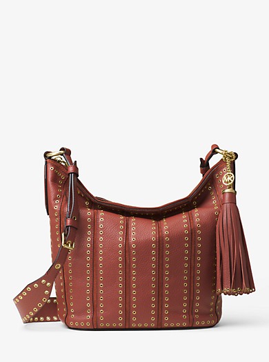Brooklyn Large Grommet Leather Feed Bag by Michael Kors
