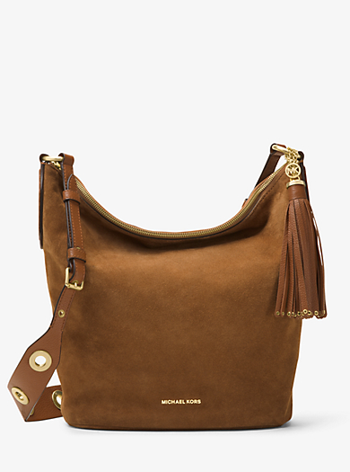 Brooklyn Large Grommet Suede Feed Bag by Michael Kors